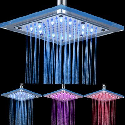 Chic 3 Colors Temperature Control Changing Led Square Rain Shower Head Led Shower Head Shower Heads Ceiling Shower Head
