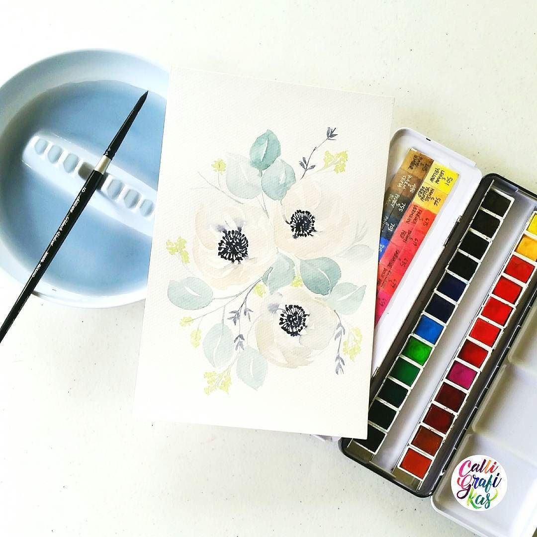 "From calligrafikas on Instagram ""Trying to do softer colors again #calligrafikas #grafikas #dreweuropeo #illustration #watercolor #grafikaflora #botanicalwatercolor Paper: Canson 200gsm Paint: Sennelier w/c Brush: Silver Brush Black Velvet round no 6"""
