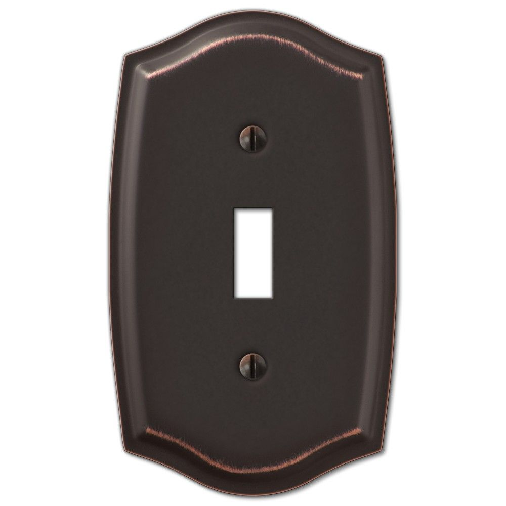 Bronze Switch Plates And Outlet Covers Amerelle Sonoma 159Tdb Steel Single Toggle Wall Switch Plate Cover