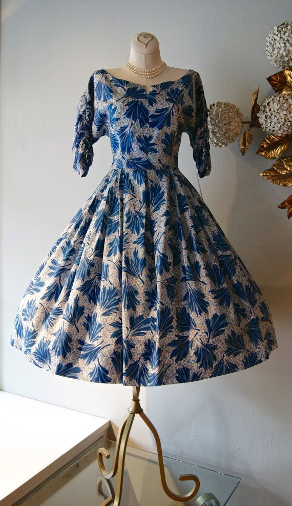 1950's Blue Leaves Abstract Print Dress
