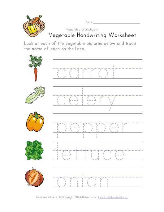 Vegetable Writing Worksheet Kindergarten Worksheets, Kindergarten  Worksheets Printable, Writing Worksheets