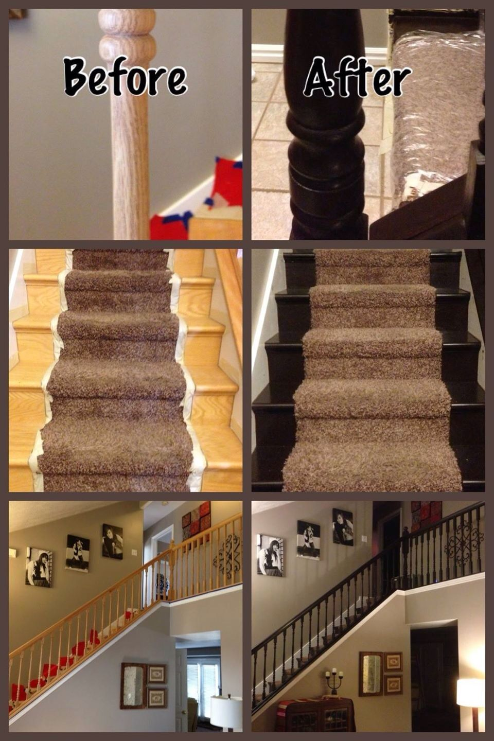 Staircase Before After Using General Finishes Java Gel