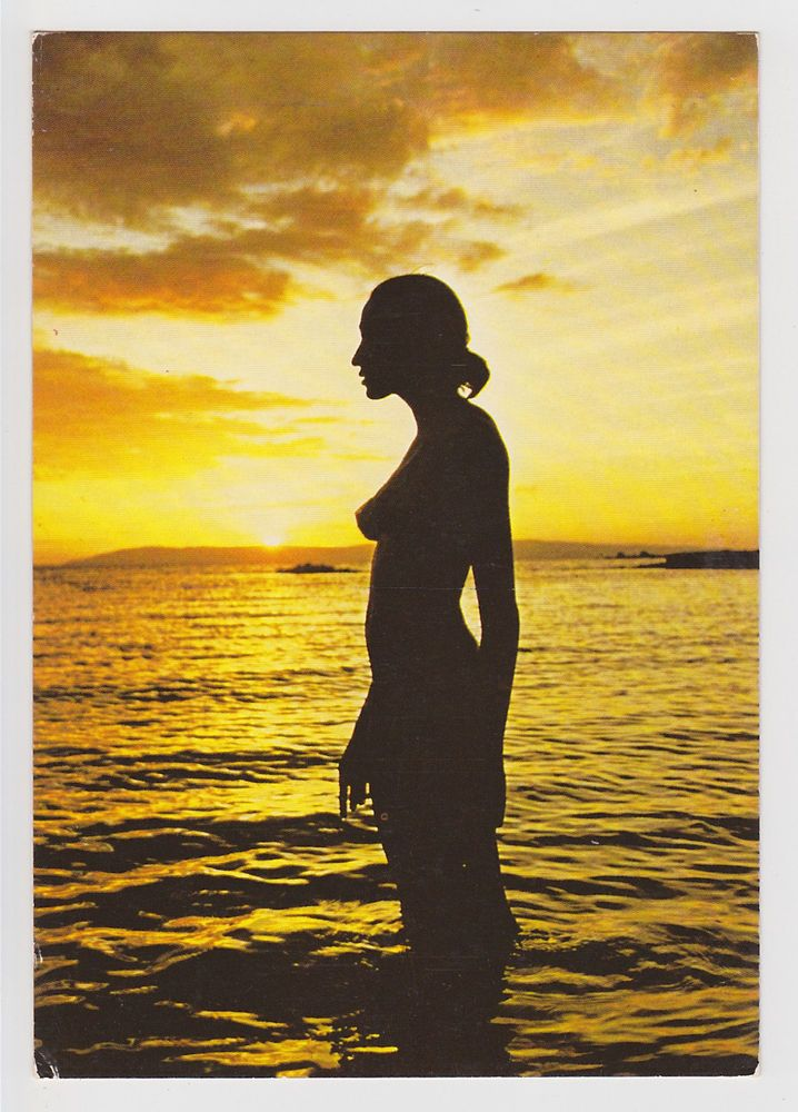 girl Nude silhouette beach sunset