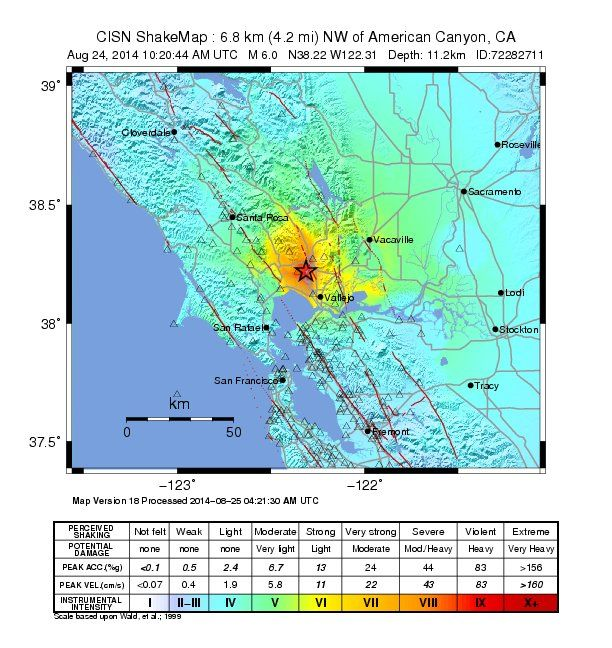 a handout shake map released by the us geological survey usgs on august 24 shows the area of the magnitude earthquake that hit a few miles northwest of