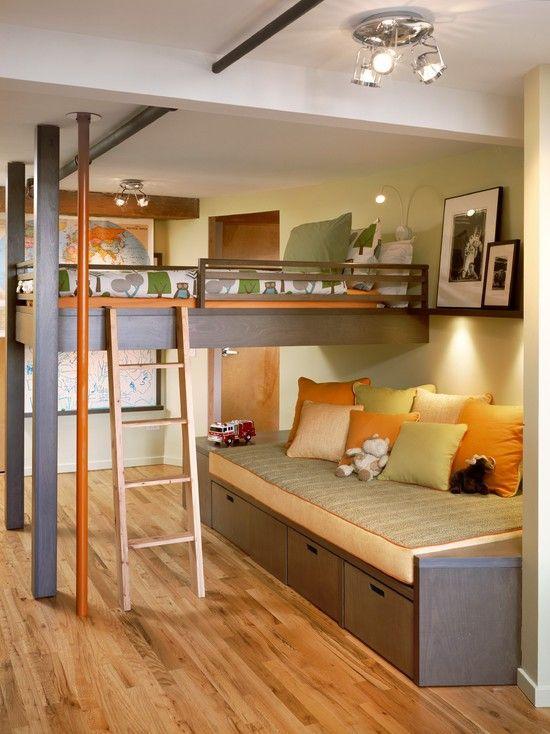 hochbett für kinderzimmer mit schubladen-leiter einrichtungsideen - hochbett fur schlafzimmer kinderzimmer