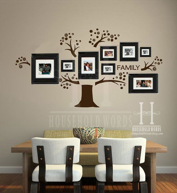 family tree wall decal vinyl words art photo gallery display, home