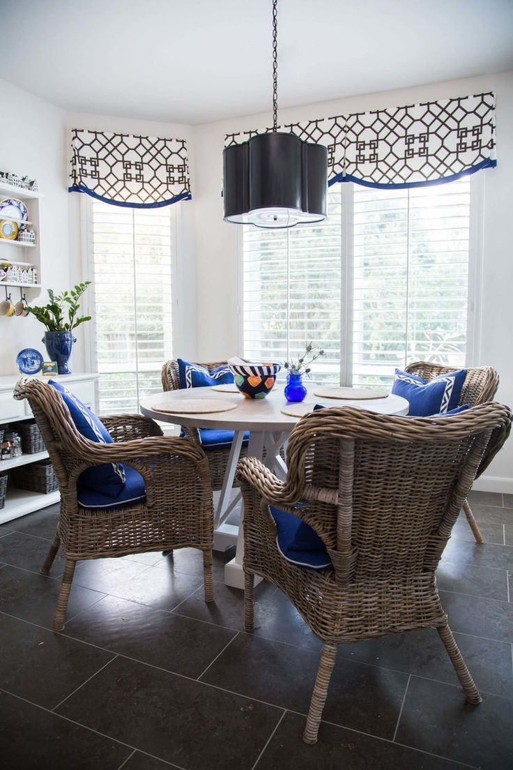 Breakfast room w custom window valances and