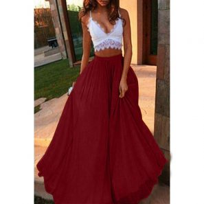 Long Hippie Spring Casual Solid Color Midi Skirt