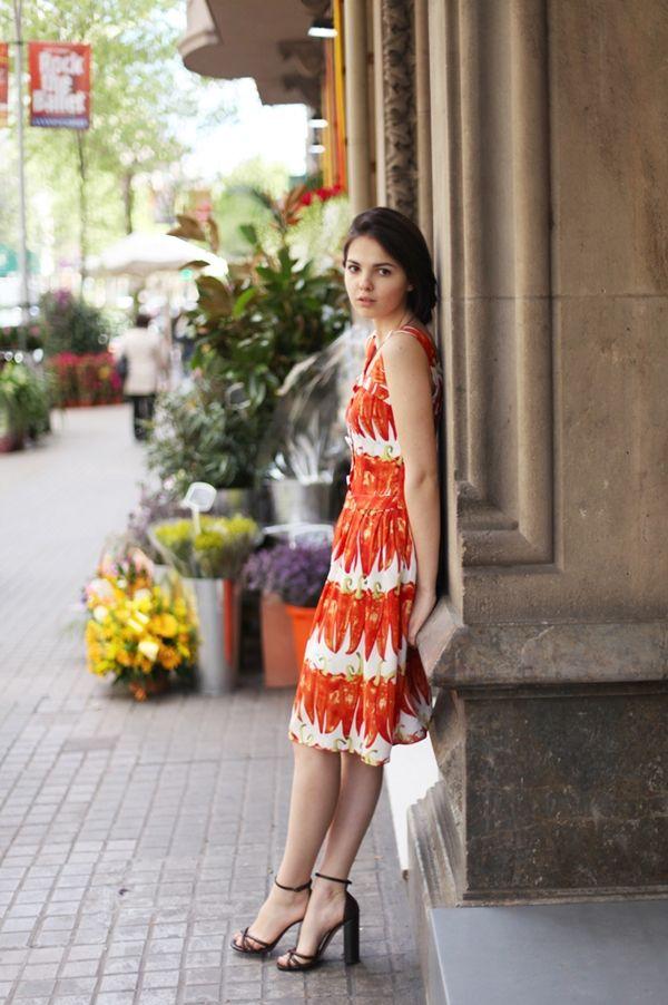 흔하지 않은 빨간 고추 패턴 드레스 - JoinsMSN 스타일