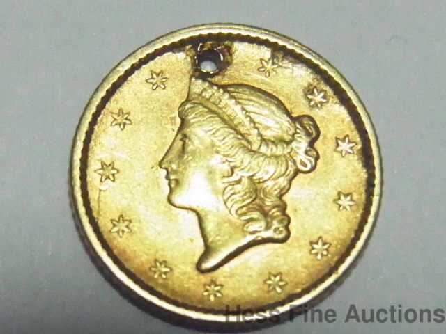 1851 Small 1 One Dollar Liberty Head Gold Coin With Drilled Hole