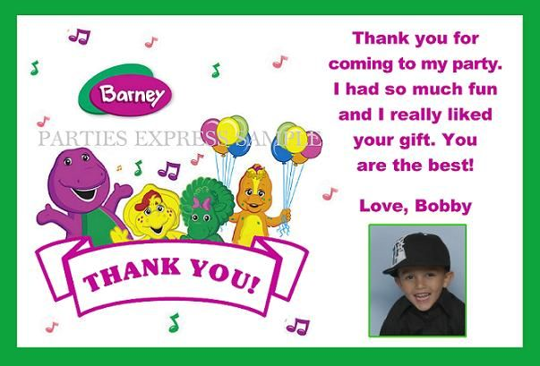 Barney thank you notes cards birthday party supplies personalized barney thank you notes cards birthday party supplies personalized bookmarktalkfo Gallery
