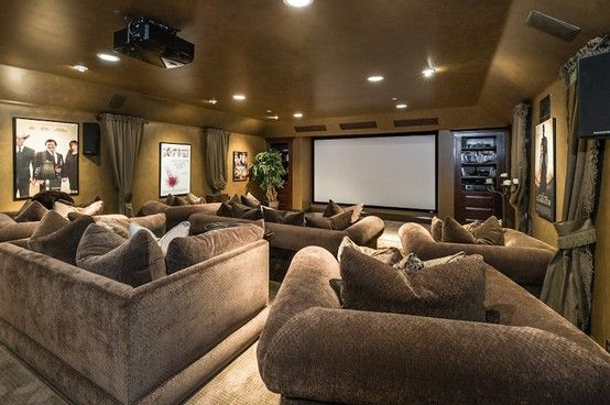 Contemporary Mediterranean Movie Theater Home Theatre Home