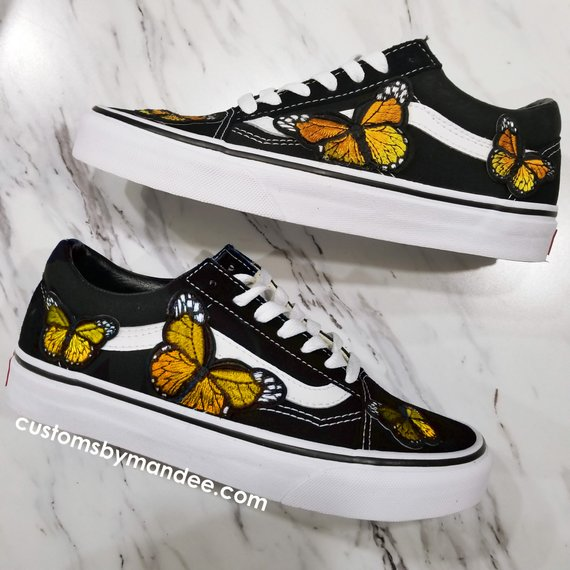 fa7d44c4e3 Orange Butterflies Custom Embroidered-Patch Vans Old-Skool Sneakers ...