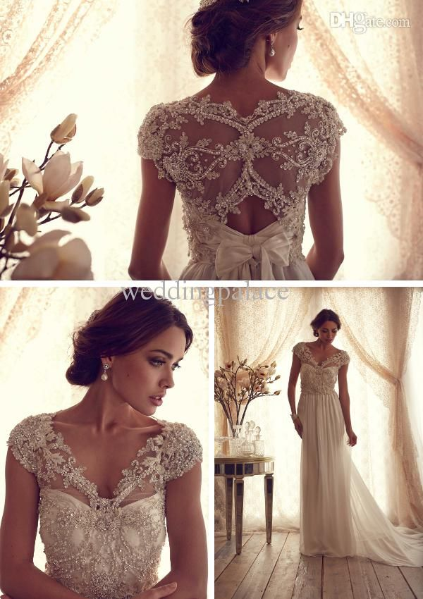 ... Dress - Buy Most Beautiful Sheer Chiffon Glitter Beaded Sequins Sweep  Train V-neck Wedding Dresses Castle Appliques Bow Pretty Wedding Gowns  Bridal Gown ... 6e60a2428c70