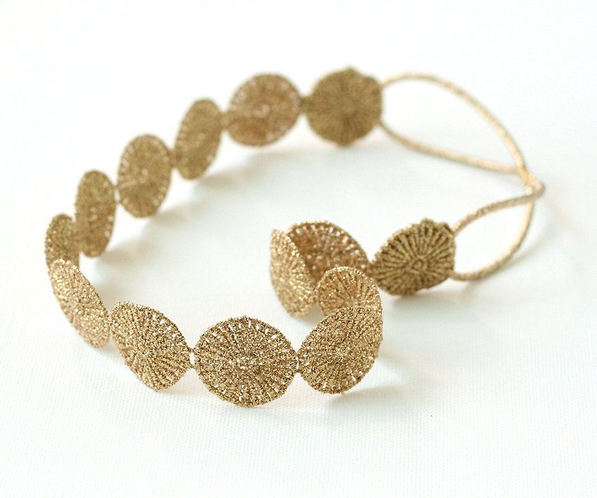 Gold Circle pattern Headband Gold oriental Headwrap Minimal headband Elastic headband Elegant Lace Headband Wedding Hairband (gold) (11.00 USD) by MuseBell