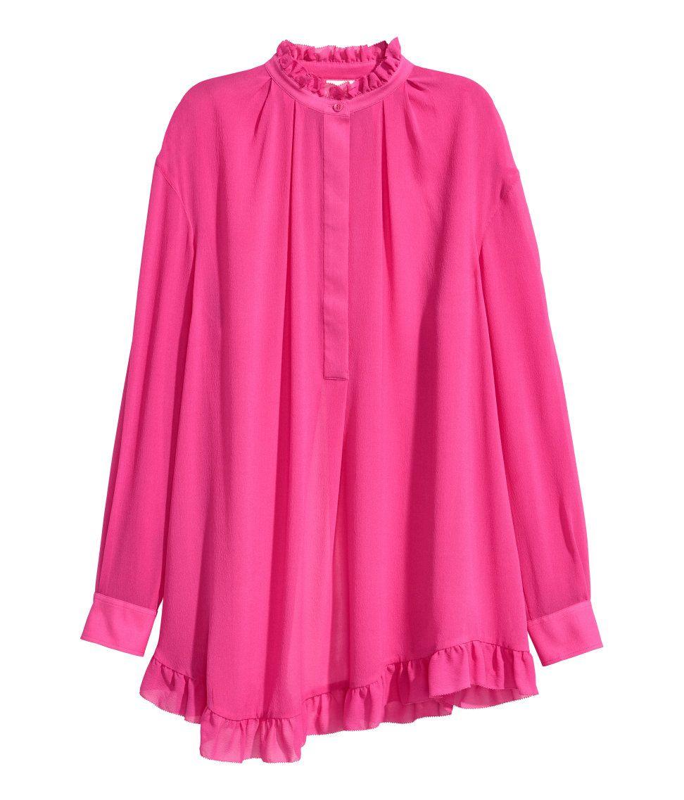 Túnica holgada de seda | Cereza | MUJER | H&M MX | blusas, camisetas ...