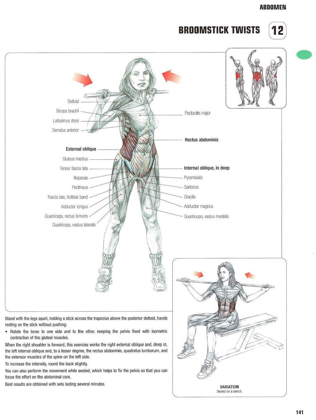 strength training anatomy 12 broomstick twists abs  core