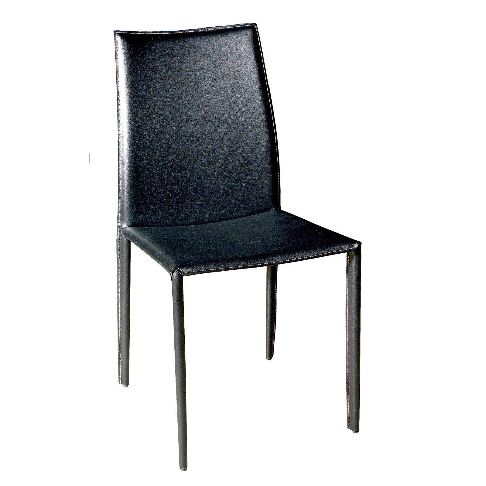 Baxton studio alicia dining chairset of 2 black leather