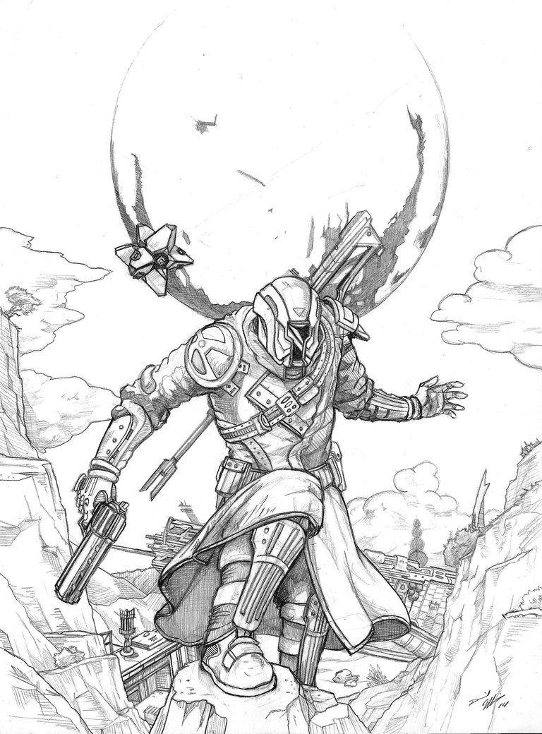 Destiny Warlock and Ghost fanart