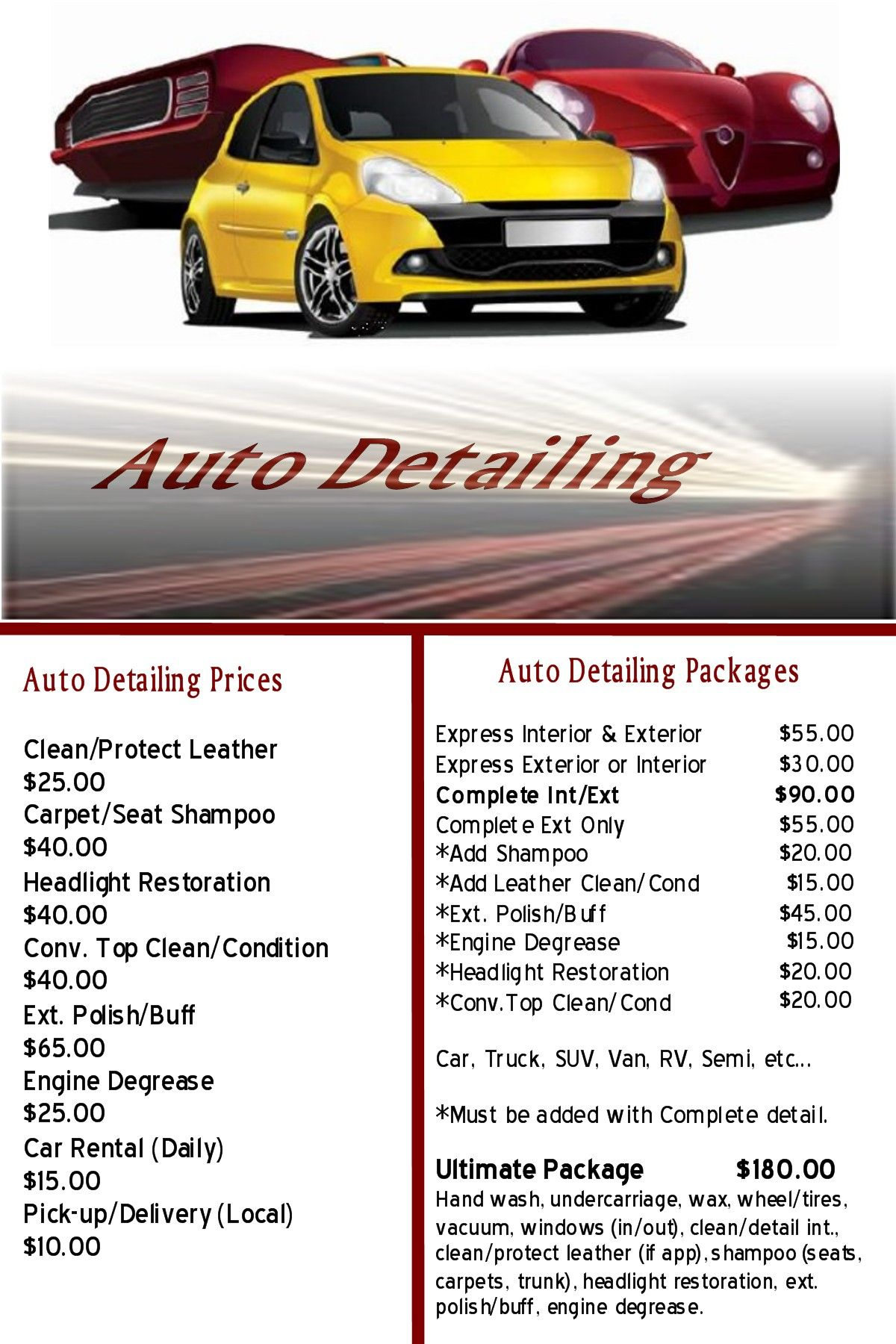 In our area? Let us clean your car. Monthly special available ...