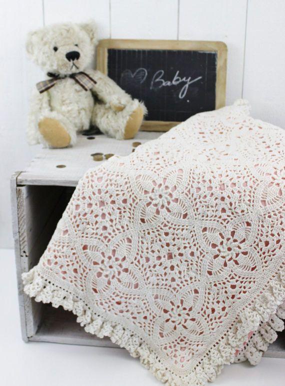 Crochet Baby Blanket Girl, White Crochet Blanket, Vintage Baby ...
