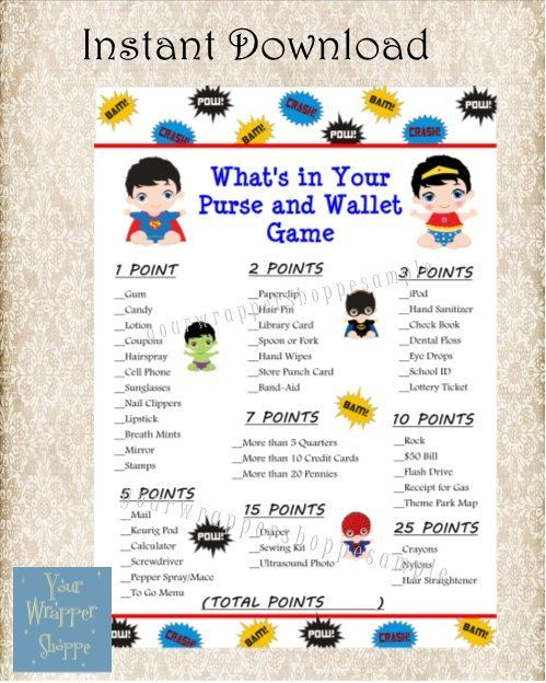 INSTANT DOWNLOAD Superhero Baby Shower   Super Hero Whatu0027s In Your Purse  And Wallet Game