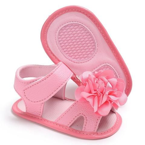 35e3cb4acba58 Raise Young Summer PU Leather Baby Girl Sandals Soft Soles Flower Solid Toddler  Girl Shoes Newborn Infant Footwear 0-18M