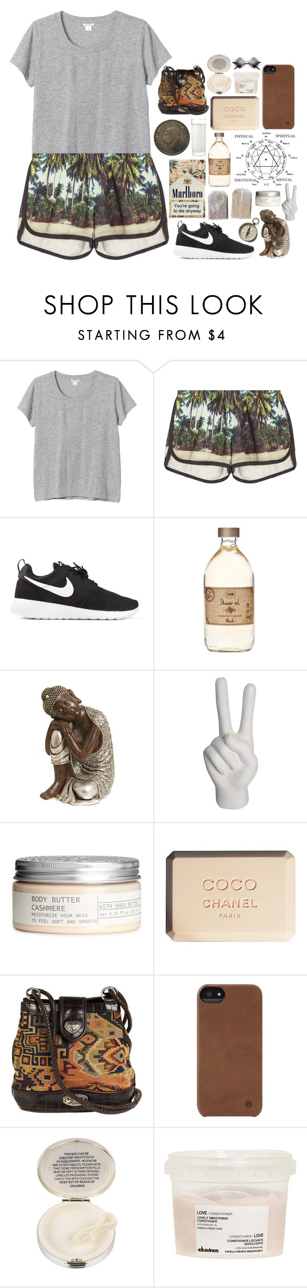 """""""Penny"""" by hannaheconomedes ❤ liked on Polyvore featuring Monki, All Things Fabulous, NIKE, Puji, Noir, H&M, Chanel, Incase, Lulu Guinness and Davines"""