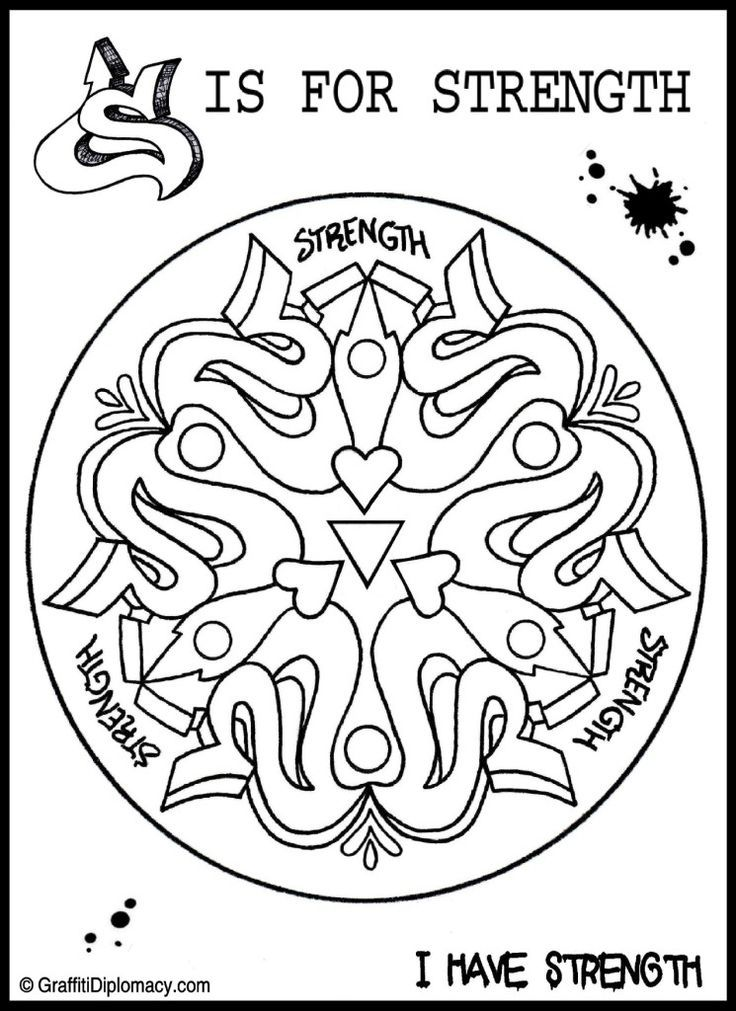 Free Coloring Page Printable Mandala Positive Affirmations Strength