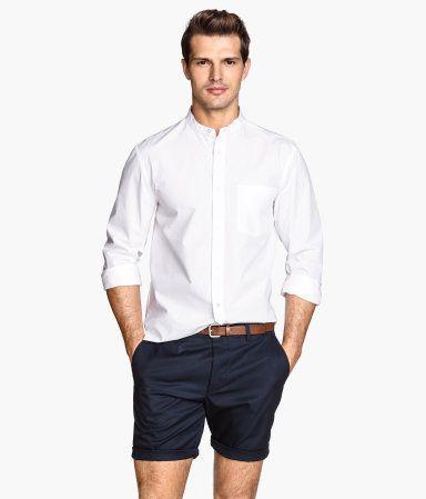 white shirt dark blue casual shorts belt | Guy Fashion | Pinterest ...