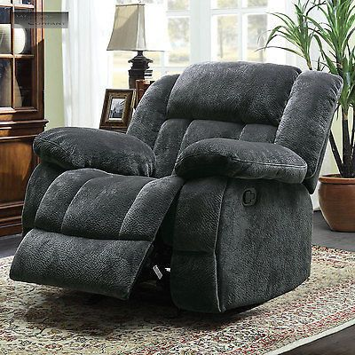 Grey Microfiber Big Man Rocker Glider Recliner Lazy Boy Chair Seat