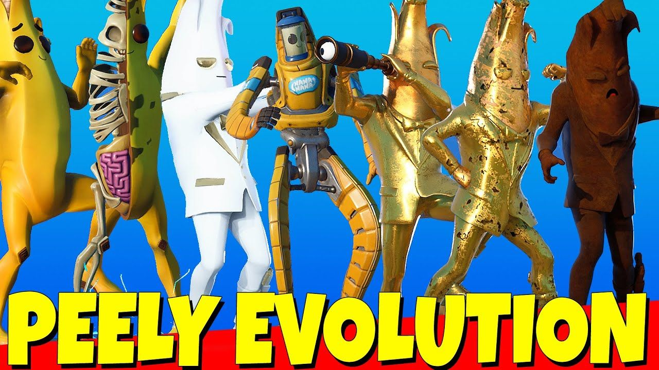Whole Peely Skin Evolution Peely Peely Bone Agent Peely Gold Peely Shadow Midas Evolution Agent Peely