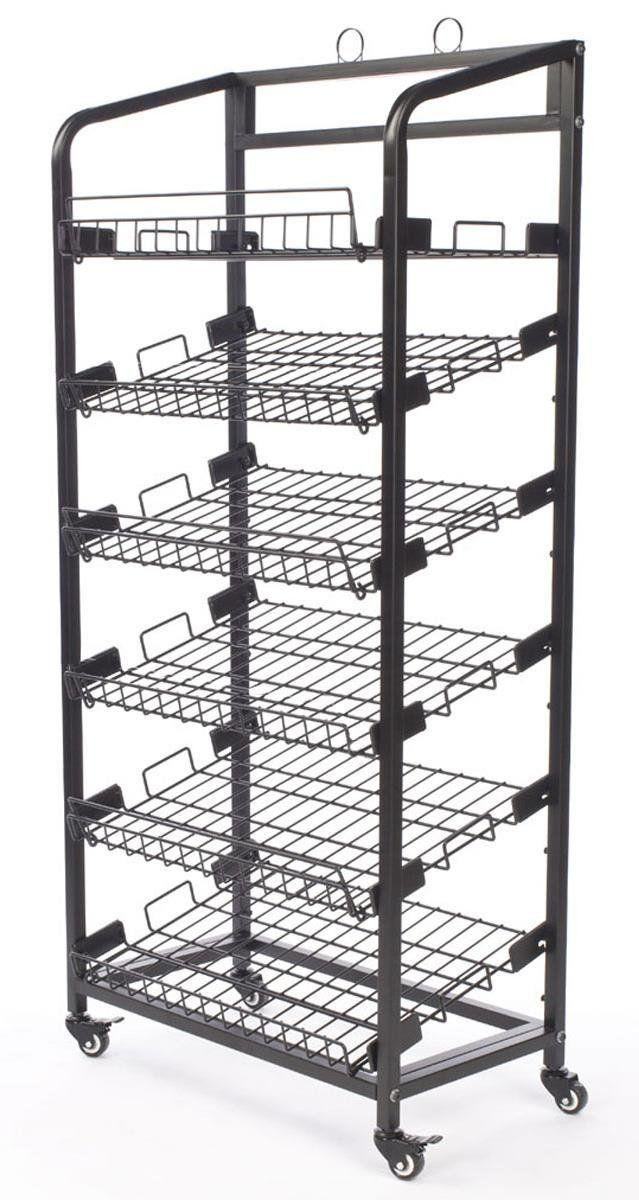 Displays2go Steel Bakers Rack With Wheels 6 Wire Shelves Black