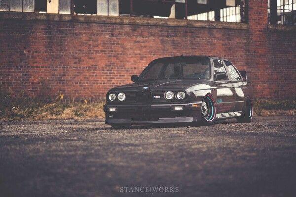 Bmw E30 M3 Black Slammed Stanceworks With Images Bmw E30 Bmw