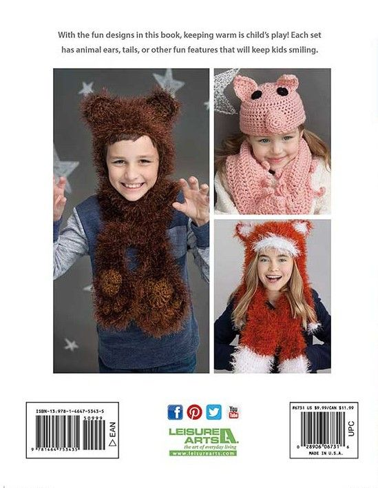 Animal Hats & Scarves crochet patterns for a pig, bear, fox and more ...