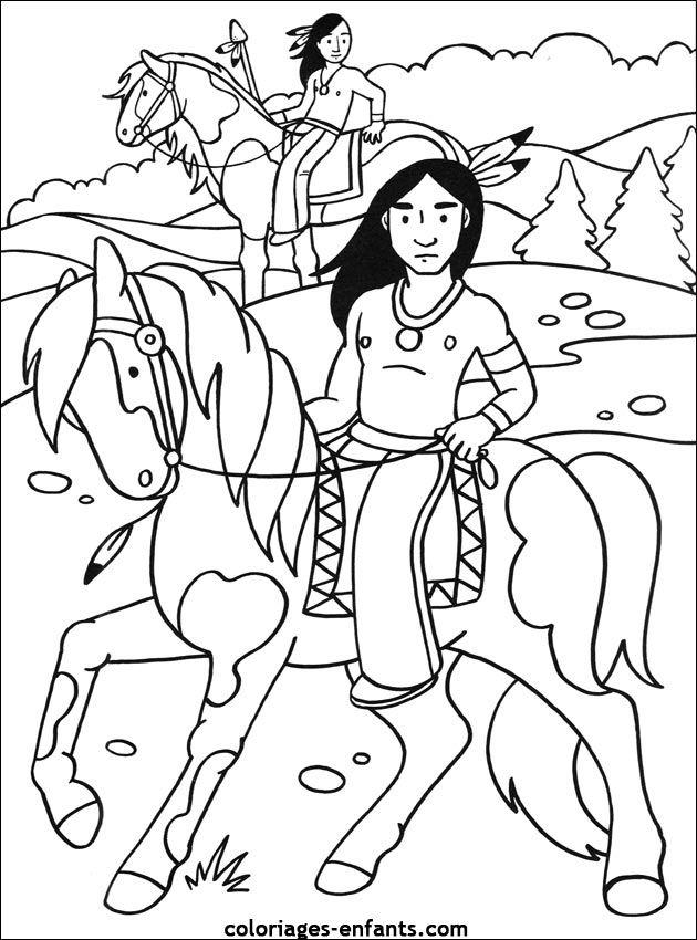 Coloriage Cheval Indien.Les Coloriages D Indiens A La Maniere De Nagawika Coloriage