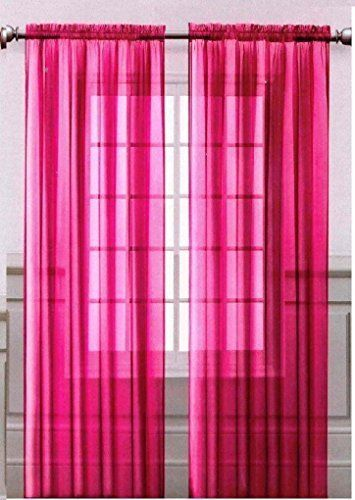 Onestop S Hot Pink Voile Sheer Panel Drape Curtain For Your Window Fully Sched And Hemmed 55x84