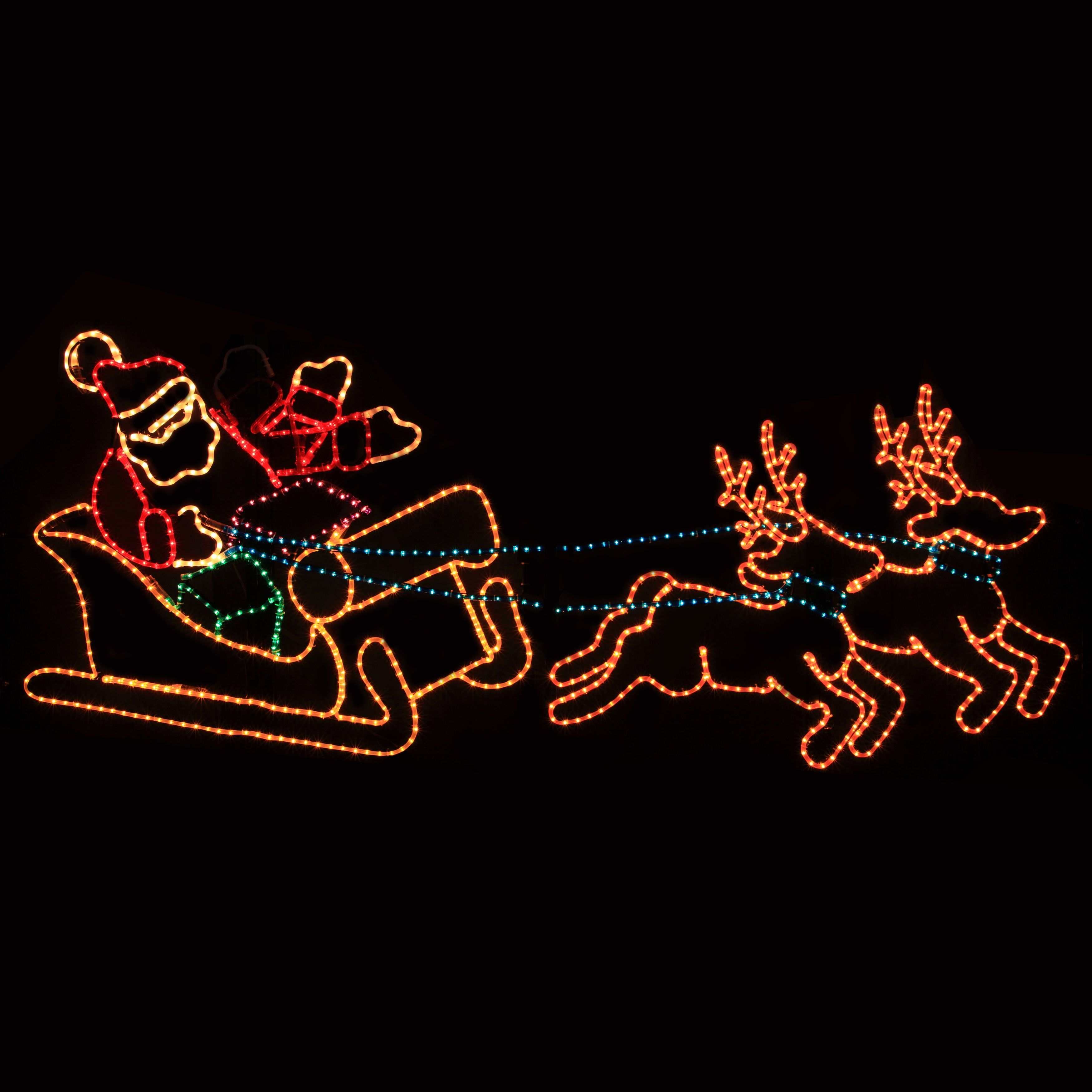 Outdoor light up santa and reindeer httpafshowcaseprop the holiday aisle animated waving santa in sleigh rope light aloadofball Gallery