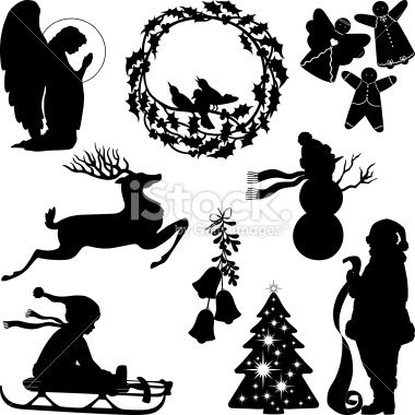 Christmas Silhouettes Including Praying Angel Wreath With Birds