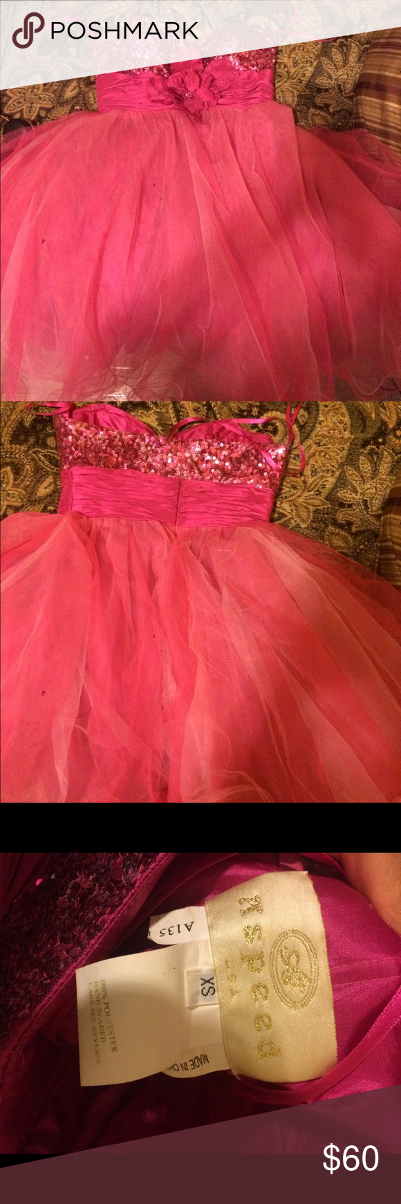 Short pink sequin chiffon dress sequined bust with a flower in the
