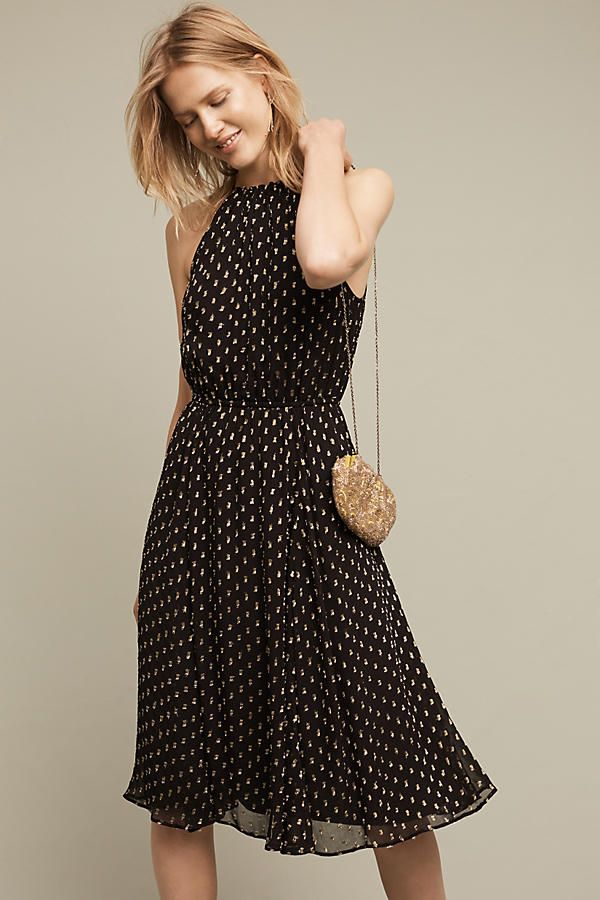 Golden Dots Halter Dress