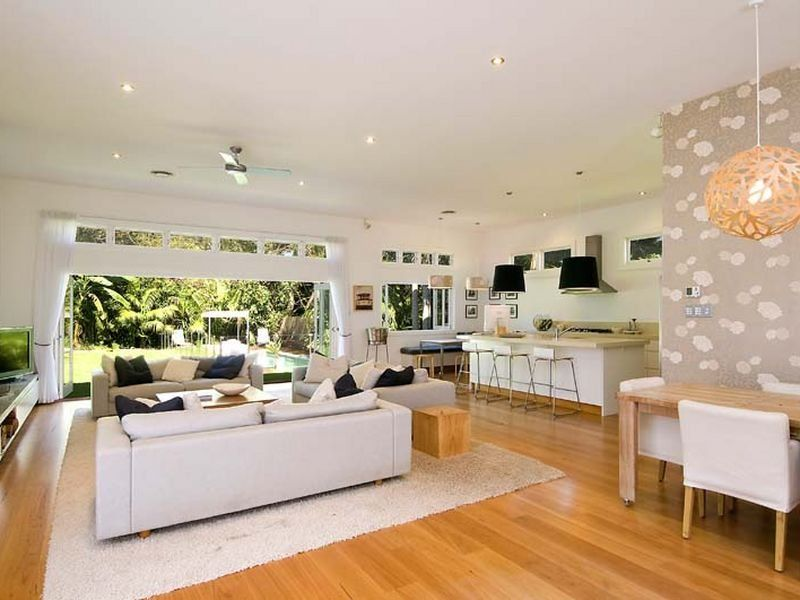 Open Plan Living Ideas white living room idea from a real australian home - living area