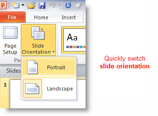 How To Switch From Landscape To Portrait Orientation In Powerpoint Powerpoint Powerpoint 2010 Powerpoint Slide
