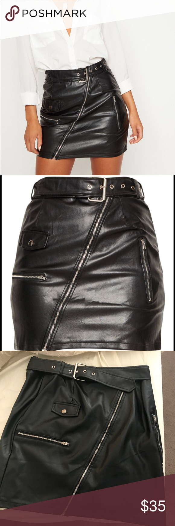 20964a858 Pretty Little Thing Black Faux Leather Mini Skirt Pretty Little Thing Black  Faux Leather Biker Belted Mini Skirt. Missing tags but has never been worn  ...