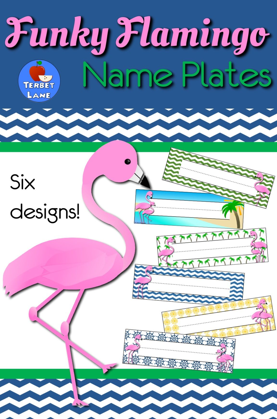 Funky Flamingo Name Tags For Desk
