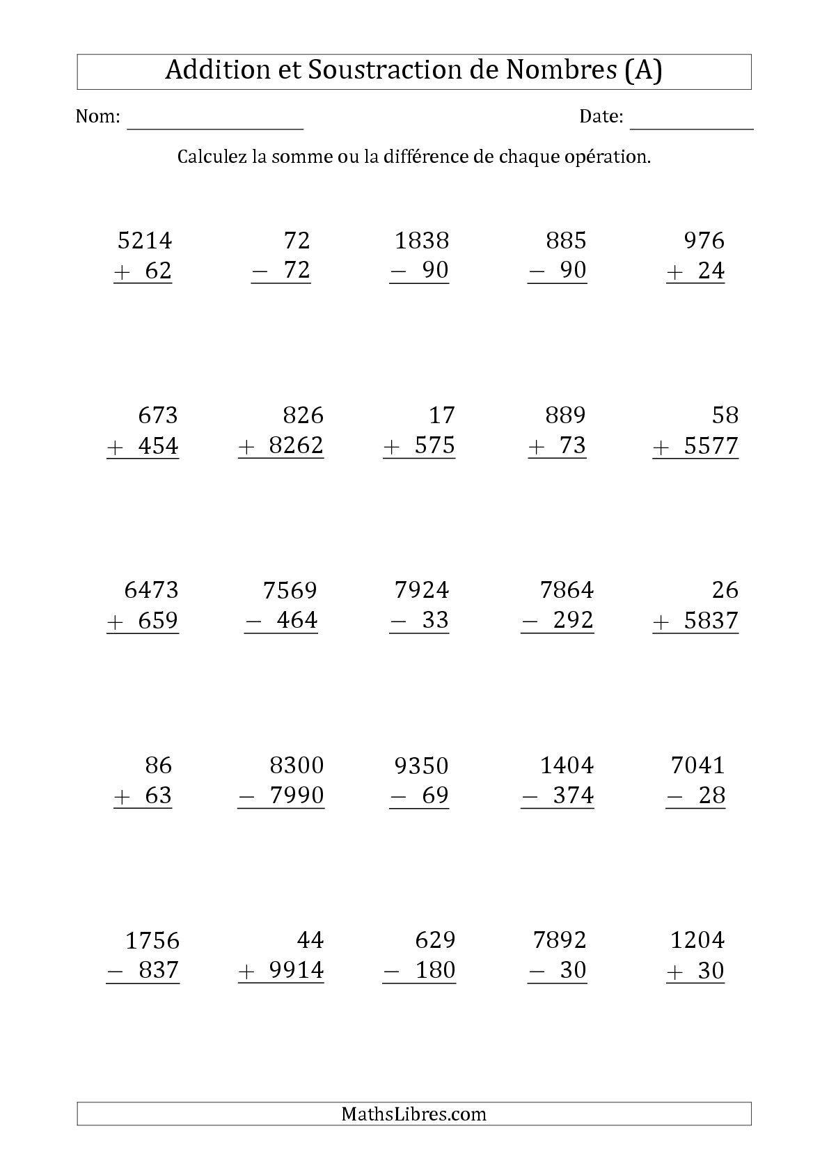 La fiche d 39 exercices de maths addition et soustraction des nombres 2 3 et 4 chiffres a de - A portee de maths cm2 en ligne ...