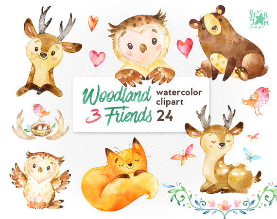 Woodland Friends 3 Watercolor Animals Clipart Fox Forest Deer