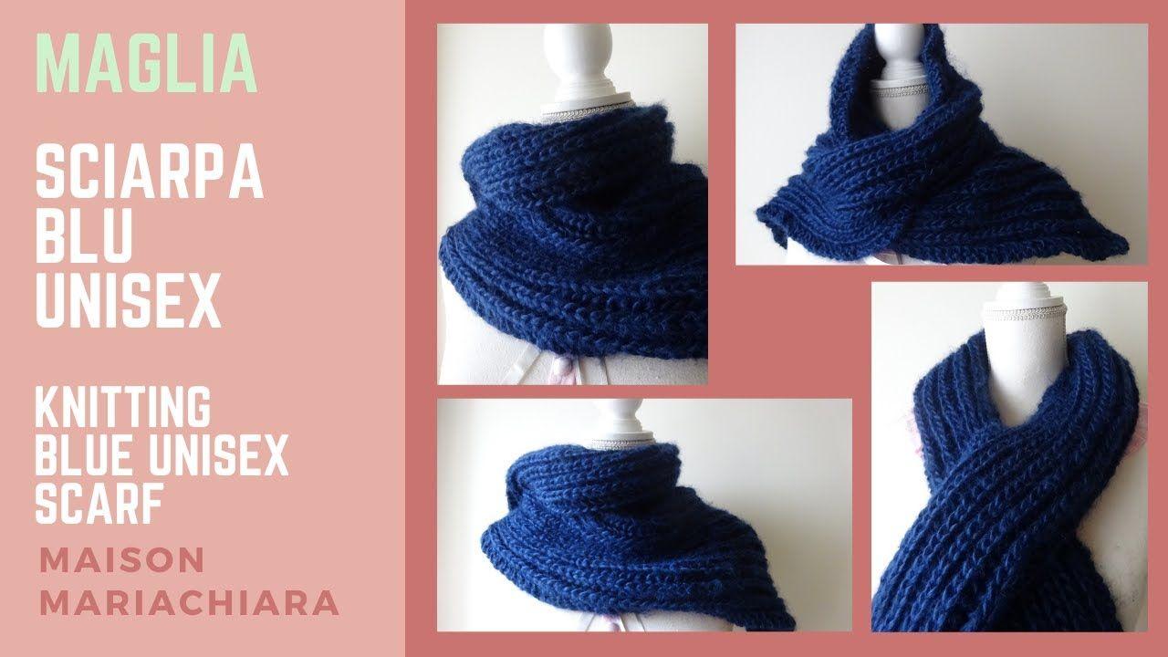 Photo of Maglia Sciarpa Blu Unisex Knitting Blue Unisex Scarf Tejido de Punto Bufanda maisonmariachiara