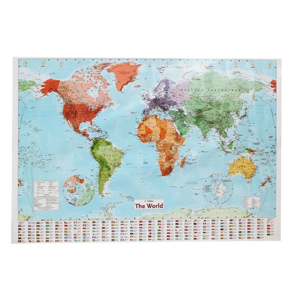Large map of the world poster with country flags wall chart home large map of the world poster with country flags wall chart home date version gumiabroncs Gallery