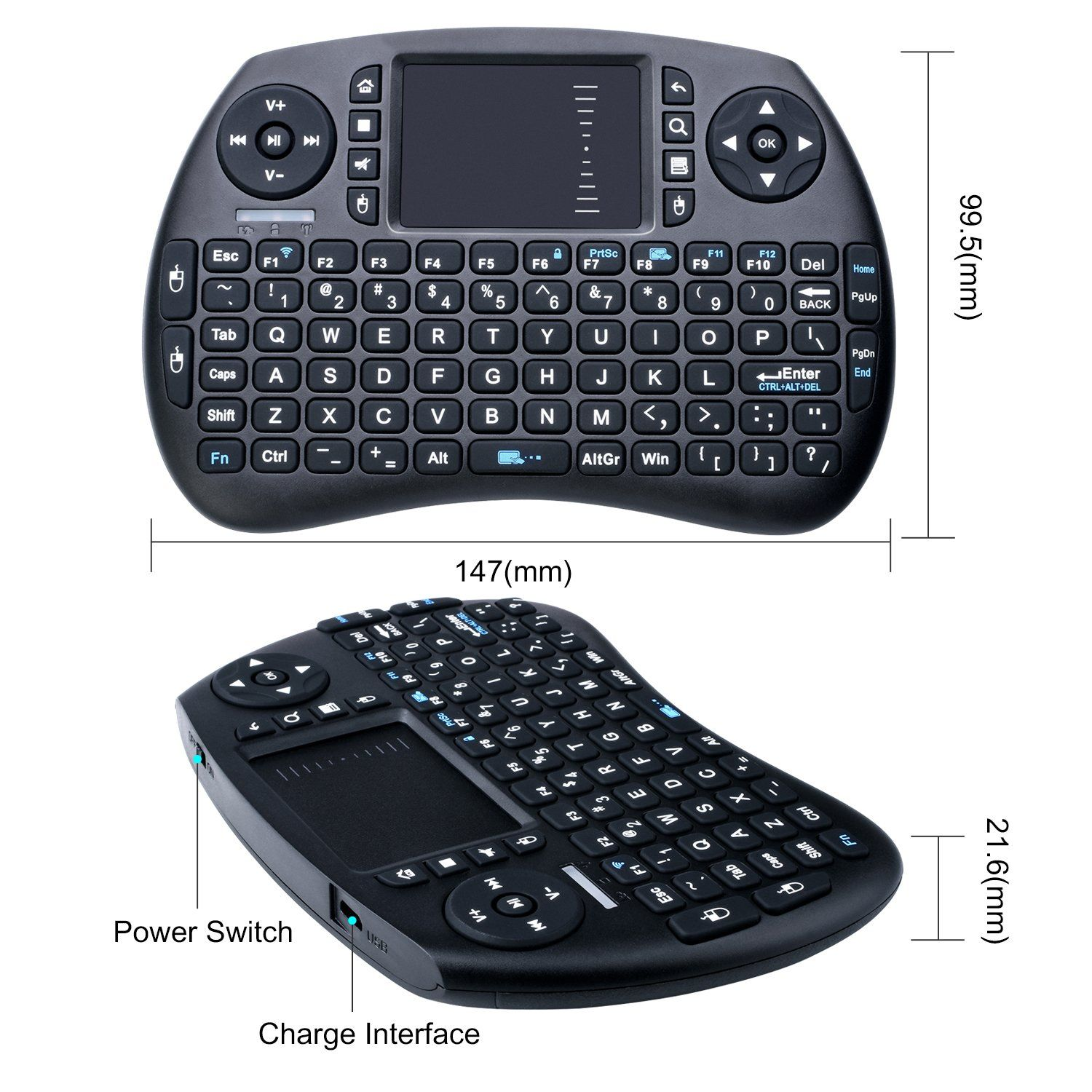 407e53dbd48 2.4GHz Wireless Keyboard with Mouse Longruner Mini Touchpad Rechargeable  Combos for Raspberry Pi 3 2